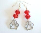 Paw Print Earrings in Red