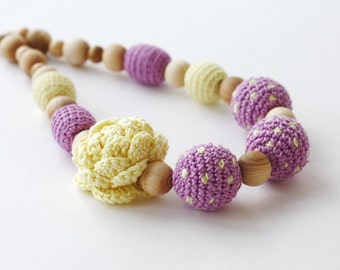 Nursing necklace Mother's day gift Light yellow and lilac necklace Summer fashion Dotted jewelry Chunky statement jewelry For mom For her