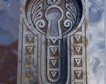 Antique Eastlake Door Escutcheon Recessed Pocket Keyhole