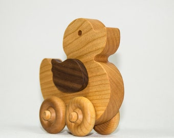 Duck Wood Push Car Duckling Childrens Toy
