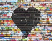 "Modern wall art, Upcycled art, Rolled paper art, recycled magazine images, mixed media fine art, ""Heartstrings in Black"""