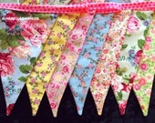 shabby chic bunting vintage banner Paris Party cottage french photo prop tattered rose Birthday backdrop decoration wedding baby shower