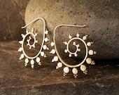 Fractal Spiral Brass Earrings