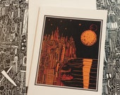 Neat City on the Coast with Moon Blank Note Card