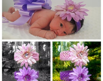 Gerbera Daisy Flower Headband, in Pink or Purple, Fits Infant - Adult