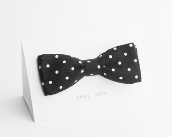 Men's bow tie, black polka dot, bowties, bow ties, necktie, men tuxedo, wedding, formal - MADE TO ORDER