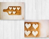White hearts, food love, kitchen art, valentines day photo, white and natural, dreamy photo, sweet for sweet, set of 2, 5x7