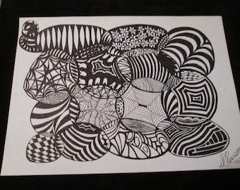 Abstract Scribble art picture is drawn with black felt tip or fine tip pens. Doodle art is suitable for framing.