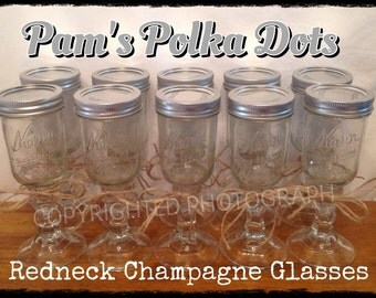 Hillbilly REDNECK CHAMPAGNE GLASS Rednek Wine Glass Half Pint Mason Jar Funny Gift Idea