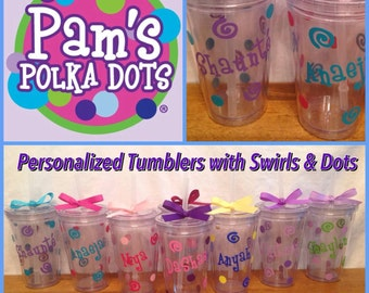 Personalized KID'S ACRYLIC TUMBLERS with Name, Swirls, and Polka Dots - Great for Birthday Party Favors 12 or 16 ounces