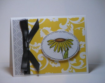 Elegance in Yellow and Gray Birthday Greeting Card