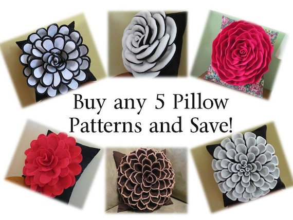 Decorative Pillow PACKAGE DEAL Buy Any 5 Flower Pillow