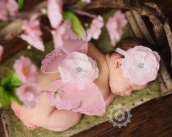 Butterfly Wings - Newborn Baby Girls Photo Prop - Light Pink - Flower Headband Included