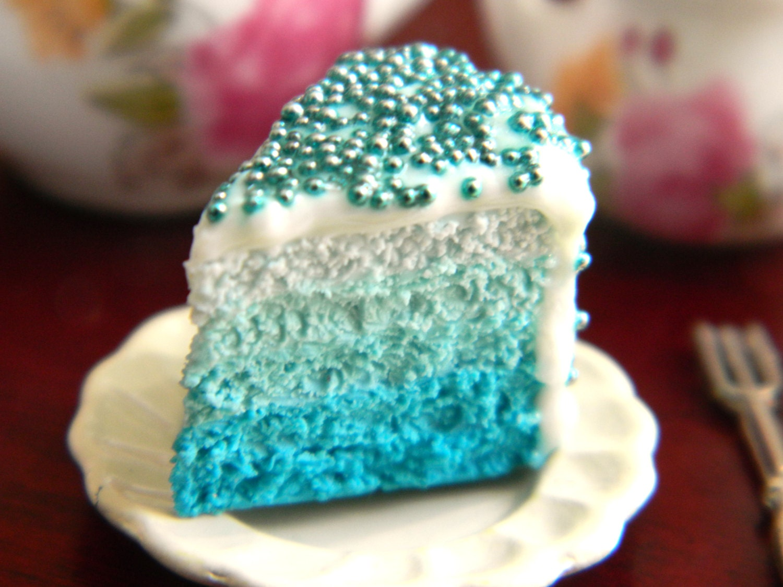 Blue Ombre Cake Slice Charm Turquoise Cake Charm Handmade