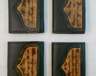 Hand-Crafted Christian Leather Tri-fold Wallet, Bible Verses John 3:16 23rd Psalm Philippians 4 13