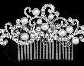 SALE SWAROVSKI Vintage wedding bridal crystal pearl head piece