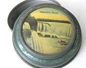 Vintage Collectible Tin Niagara Falls Travel Souvenir Change Holder Metal Storage Trinket Box