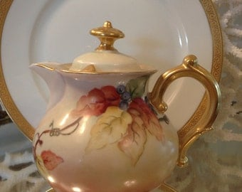 Antique Lidded Creamer, Hand Painted, Floral Design with Gold Accents, France