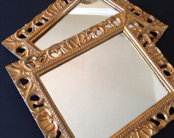 Vintage Set of Italian Gilded Gold Mirrors, Made in Italy, Carved Wood, Made for Gimbels