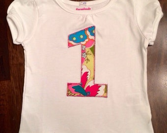 First Birthday Shirt, Number 1,  1st, 2nd, 3rd- Any Birthday Appliquéd Number Shirt 1 2 3 4 5 Children's Clothing Infant to Big Kid