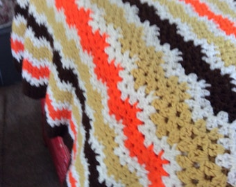 Vintage Striped Afghan - Retro Midcentury - Earth Tones - Orange Brown Gold White - Mad Men - Crocheted -  Zig Zag - Throw -  Lap Blanket