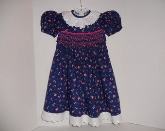 Size 2 Handsmocked Dress Navy Blue Print With Cherries