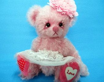 OOAK pink mohair dressed angel artist bear, Love by YuYu Bear