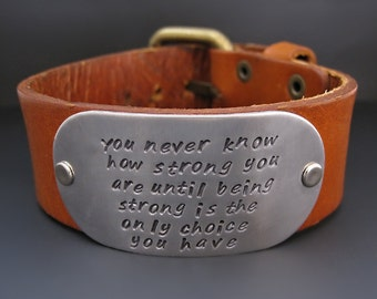 Men's Custom Leather Bracelet - Personalized Cuff - Hand Stamped - Buckle Clasp