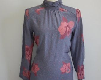 Korean Lavender Silk Dress / Long Sleeve Floral Midi Dress