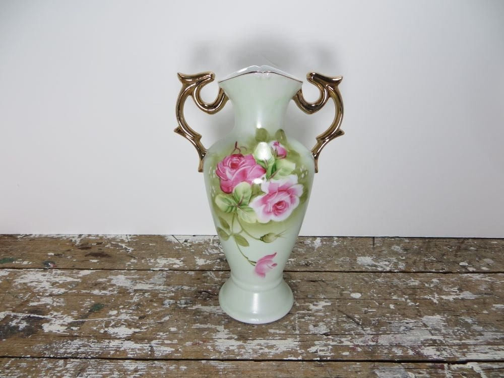 Lefton Vase China Vase Hand Painted Vase Flower Vase 4072