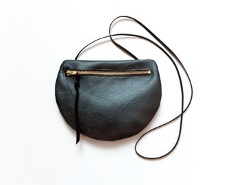 PEARL Black Leather Shoulder Purse. Small Round Cross Body Purse.