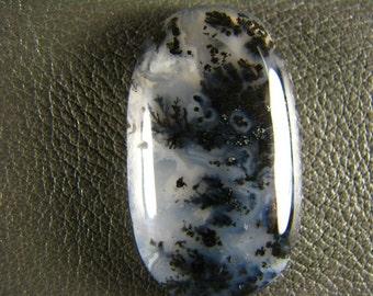 Black n White Plume Agate Cabochon C0120