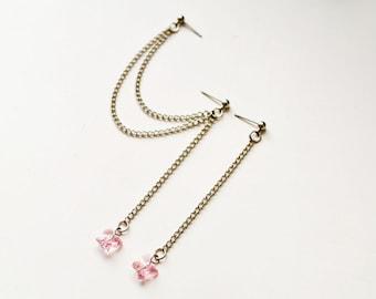 Pink Swarovski Butterfly Cartilage Earrings (Pair)