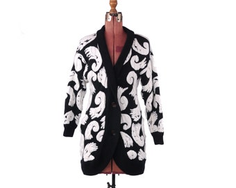 Vintage 1980's Oversized B&W Art Deco Swril Knit Cardigan Coccon Sweater Coat M