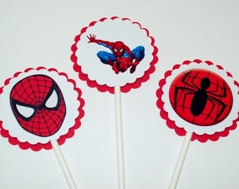 Spiderman Cupcake Toppers/ Birthday Party/ Cake Toppers/ Boy Birthday