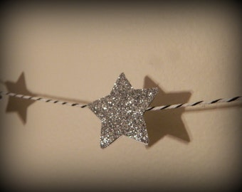 Sparkle Silver Star  garland -   6 feet long