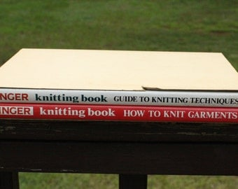 Vintage Mid Century Modern Singer How-to and Garment Knitting Book Set MCM Decor Green Books