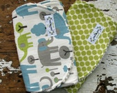 Elephant Burp Cloths - Trunk Tales & Lime Moon - Set of 2 - Gender Neutral - Grey, Vintage Blue and Lime