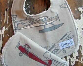 Bib & Burp Cloth Gift Set - Vintage Airplanes - Baby Boy - Grey, Red, Slate Blue