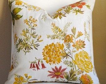 NEW-Designer PIllow Cover-20x20-Floral Pillow-Red- Pillow-Yellow Pillow-Green Pillow-Both Sides