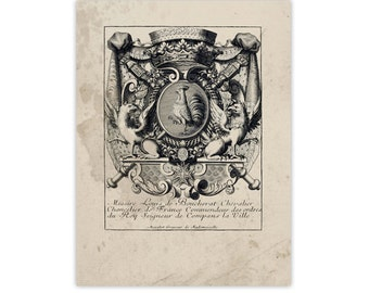 Figural Crest of Nobility 2, Peerage Insignia Emblems - Digital File 18x24, Similar to Restoration Hardware, 8 available