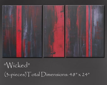 Red and Black Abstract Painting, Large 48x24 Tryptich, Original Abstract Art