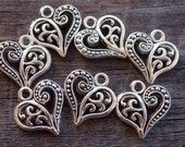 10 Antiqued Silver Filigree Heart Charms 14mm