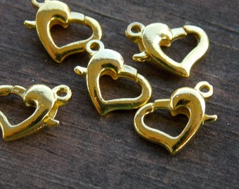 8 Gold Heart Shaped Lobster Clasps 12mm