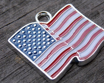 4 American Flag Charms 23mm Enamel and Silver