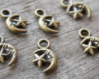 40 Bronze Moon and Star Charms 12mm