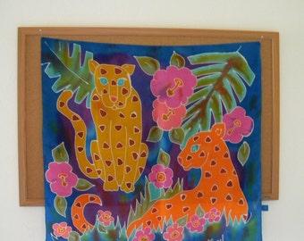 "Colorful Hawaiian Feline SILK SCARF Handrolled Hem 28"" HAPPINESS"