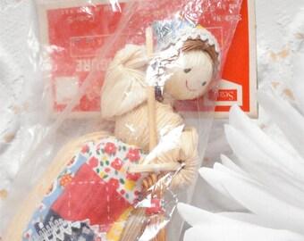 Corn Husk Doll Sear Roebuck Co Ornament 4 inch