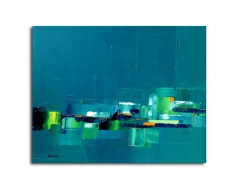 "Distant City  - Original oil painting, heavy texture - turquoise, lemon green, blue, orange - 15,7"" x 19,7"""