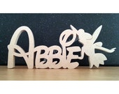Craft names - Disney Style Font - Freestanding kids name plaque with Tinkerbell shape